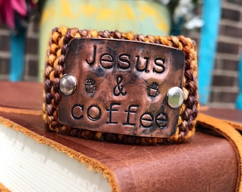 Religious Jewelry Bracelet for Women,  Jesus and Coffee Bracelet, Copper Brown Cuff Bracelet, Inspirational Custom Made Teacher Gift