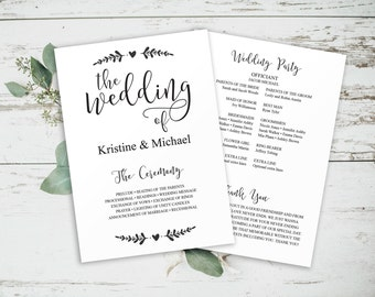 Editable Program, Printable Wedding Program, Printable Wedding, Program Template, Instant Download, Wedding Ceremony, Program Printable,
