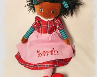 Personalized Embroidered Black Hair Rag Doll