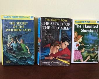 Two Nancy Drew Books and One Hardy Boys Book
