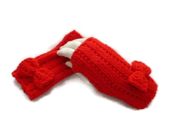Fingerless Gloves, Red Fingerless Mittens, Knit Gloves, Womens Wristwarmers, Winter Accessories, Red Gloves