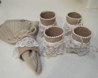 Set of 4 Handmade Napkin Rings/Napkin Holders/Table Setting