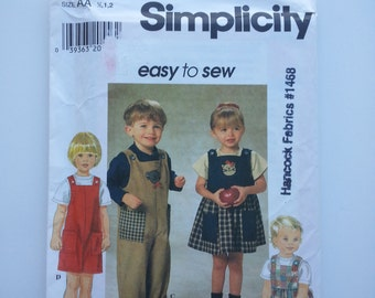 Kids romper / jumper /Toddlers / jumper dress / playsuit / 90s clothing/ 1997 sewing pattern, Sizes 1/2 1 2, Chest 19 20 21, Simplicity 7729