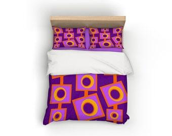 Purple, Retro, Duvet Cover, Home Decor, Bedding, Mid Century Modern, Bedroom Decor, Geometric, Modern Home Decor, Mid Century, Home Living