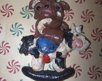 Folk Art English Bulldog Dog Rocking Horse Ride Ornament Ooak