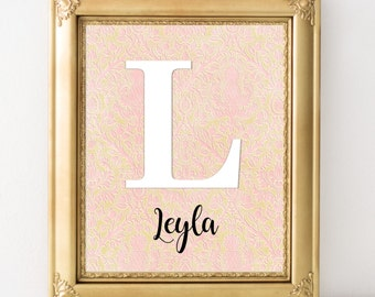 Personalized baby girl nursery wall art pink gold nursery decor custom name print gift for baby new mom gift damask nursery girl room decor