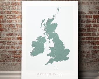 British Isles UK Map - Country Map of British Isles - Art Print Watercolor Illustration Wall Art Home Decor Gift - COLOUR PRINT
