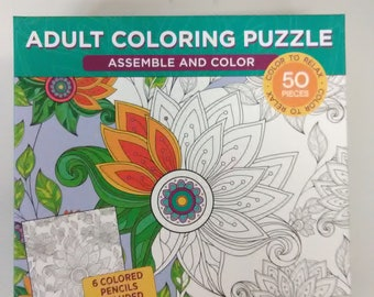 Adult Coloring Puzzle with 6 Colored Pencils (Flower)