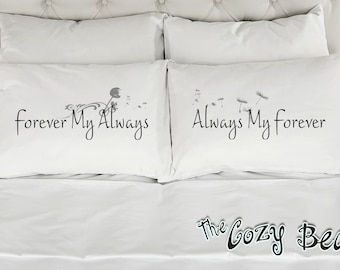 Forever My Always, Always My Forever, Couples Printed Pillowcases (Set of 2) Wedding, Anniversary, Bridal Shower Gift
