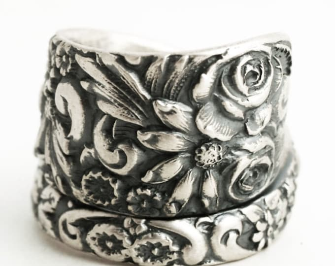Silver Wild Flower Ring, Spoon Ring Sterling Silver, 1908 Baltimore Style Floral Ring, Rosebud Ring, Chunky Ring, Adjustable Ring Size, 6841