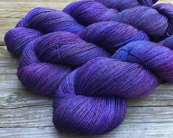 Hand Dyed SW Merino Nylon Sock Yarn 100 gms 464 yds PORT MOODY Purple Lilac Midnight Royal Blue Cornflower Mauve