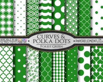Forest Green Polka Dot Scrapbook Paper: White and Green Digital Patterns - Printable Tiled Polkadot Background with Eco Friendly Earth Color
