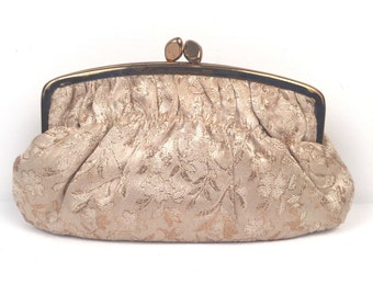 Vintage 1960s Gold Fabric Evening Clutch