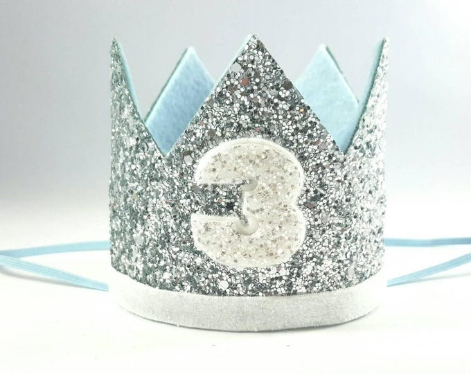 Birthday Crown || Blue and Silver Birthday || Silver Crown || Birthday Girl || 3rd Birthday || Baby Crown || Birthday