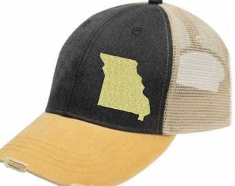 Missouri Hat - Distressed Snapback Trucker Hat - off-center state pride hat - Pick your colors