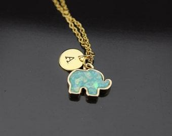 Gold Elephant Necklace, Elephant Charm, Green Necklace, Mint Green Imitation Opal Charm, Gold Necklace, Personalized Gift