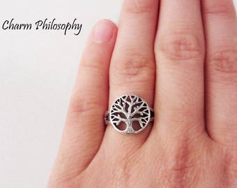 Tree of Life Ring - 925 Sterling Silver Jewelry - Silver Round Tree Ring