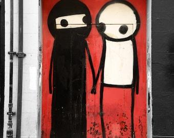 Stik, Street Art, Graffiti Photography, black and white, red, love, London, Fine Art Print, Wall Art, Urban Photography, Home Decor