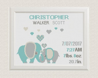 Birth announcement baby animal sampler Cross stitch elephants with hearts cross stitch pattern  new baby boy birthday gift nursery decor