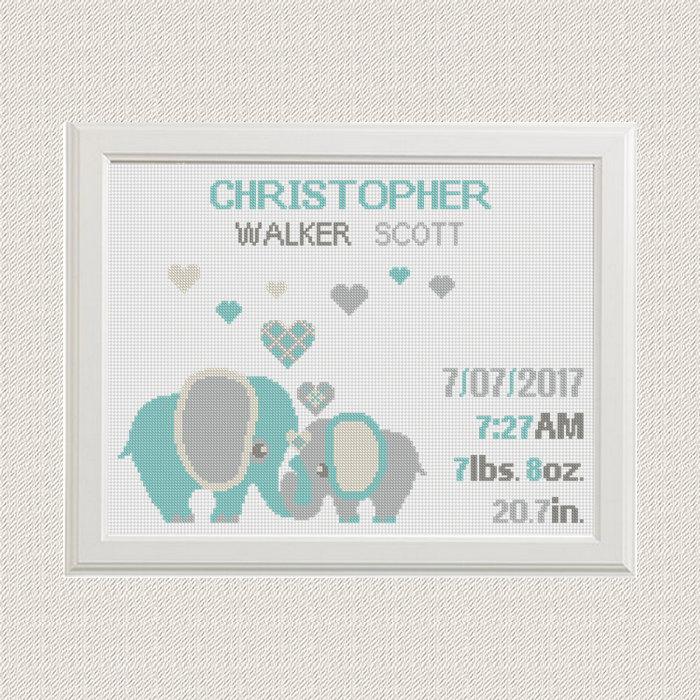 Birth Announcement Baby Animal Sampler Cross Stitch Elephants
