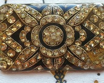 Rhinestone Brooch / Rectangular Rhinestone Pin / Diamante Brooch /Trombone Clasp / Vintage Pin