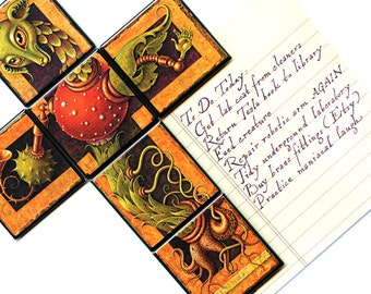 Monster magnet set, Goodly Creature: Set of 6 2x2 refrigerator magnets, making up a weird fantasy art steampunk creature for your fridge