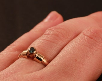 Rose gold blue diamond ring in size 7.75 ready to be shipped