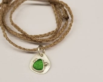 Green Sea Glass Sterling Pendant with Adjustable Cord