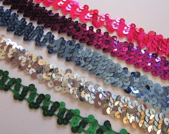 11 to 32 yards sequin trim - YOUR CHOICE - 3/4 inch wide - as is