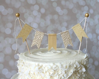 Gold Cake Bunting Pennant Flag Cake Topper- Birthday, Wedding, Baptism, Christening, 50th Wedding Anniversary Shower Cake Topper