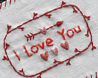 I Love You Hand Embroidery St. Valentine's Day Love Cards Art Postcards Gift Idea Art Handmade Art Thread Airmail Postcard Red Heart