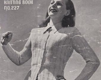 ON SALE Vintage 1940s - Paton's Knitting Pattern No 227 For Women/Ladies - Original Pattern