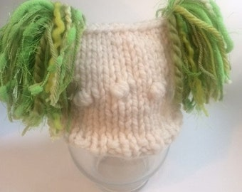 Irish Knitted Jester Hat For Newborn in Bobble Pattern.  Geen, Cream with Pink, or Cream and Brown Accents in the Tassels, Photography Prop