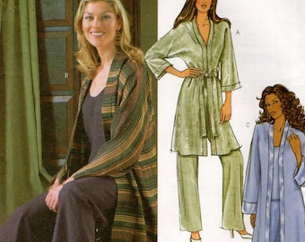 Butterick 4034 Free Us Ship Duster Loungewear Top Pants Pj's Robe Lounge Pants Sewing Pattern 2003 Size 6 8 10 Bust 30 31 32 Uncut