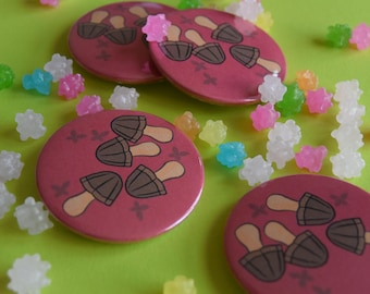 Kinokonoyama - Meiji choco mushrooms Button / Pin Badge