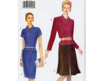 """Straight Skirt and Top Pattern Flared Skirt Pattern Princess Seam Top Very Easy Very VOGUE 9545 UNCUT bust 34-38"""" Two Piece Dress Pattern"""