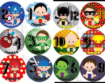 Super Hero Month Stickers - Baby boy Monthly stickers - Baby month stickers -  Months 1-12 stickers -baby heros
