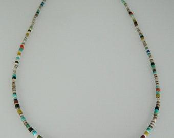 "Native American Santo Domingo Turquoise Multi Gemstone Sterling Silver Necklace 22 3/4"""