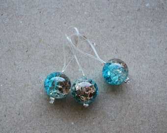 "Handmade Knitting Stitch Markers With Blue Glass Beads ""Ocean"" set of 3"