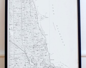 Chicago, Illinois Map Poster 11x17 18x24 24x32