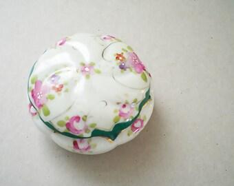 Shabby Chic Floral Porcelain Trinket Box Jewelry Box China Vanity Box Hand Painted China Box Pink Roses