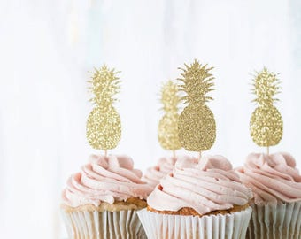 Set of 12 shiny Golden pineapple cupcake Topper