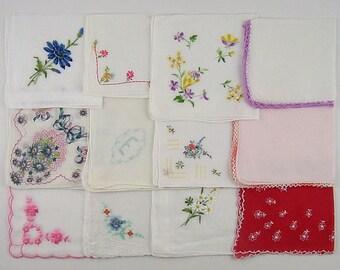 Vintage Hanky Lot 1 Dozen Assorted Vintage Hankies Handkerchiefs (Lot #J15)