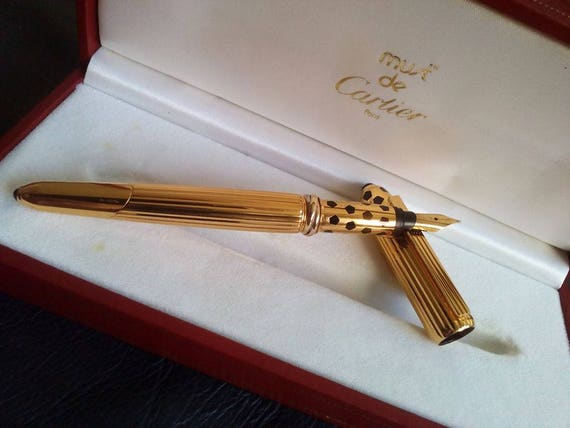 Image is loading Cartier-Pasha-Fountain-Pen-Gold-and-Black-Lacquer
