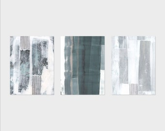 Abstract Painting Printable Set of 3, Minimalist Abstract Wall Art Set of 3 Prints, Muted Colors Art, Grey Abstract Wall Art Prints Set