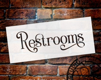 Wedding Sign Stencil - Restrooms - Elegant Traditional - Select Size- STCL1740 - by StudioR12