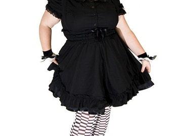 Gothic Lolita Dress - Black Cotton Jumper Petite to Plussize  - Underbust Suspender Skirt -Custom to your size S- 5XL