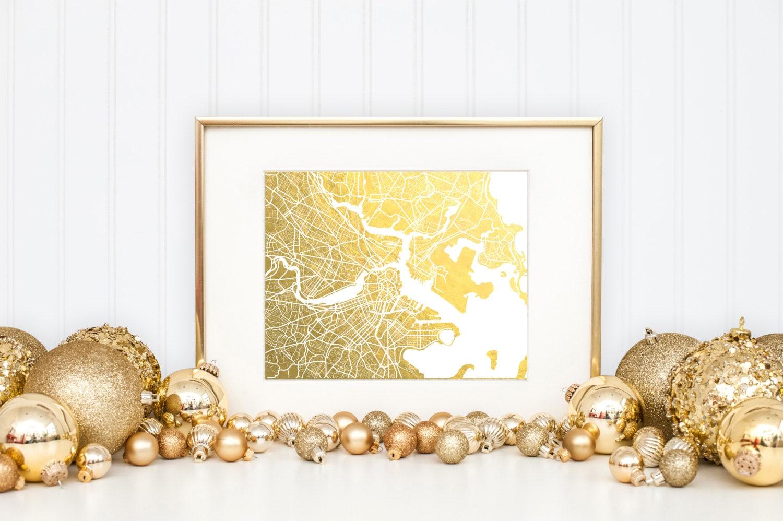 Boston Map Gold Foil Print Boston Wall Art Gold Foil Map