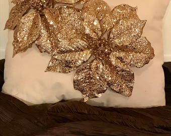 Gold sequins Poinsettia decorative Christmas pillows Poinsettia decorative pillows. Poinsettia pillows