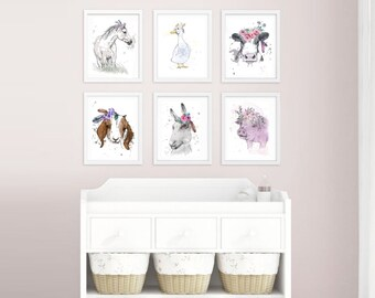 Nursery Wall art, Flowers and Feathers, Farm Animals, pen and watercolour, animal art
